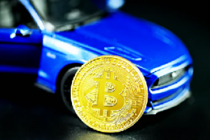 Blue car with a gold coin in front of it